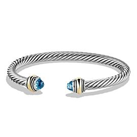 David Yurman Cable Classic Bracelet with Blue Topaz and 14K Gold, 5mm