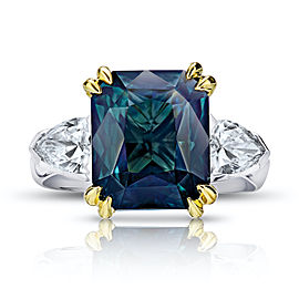 Platinum 18K Yellow Gold 7.70ctw. Sapphire 1.05ctw. Diamond Ring Size 7