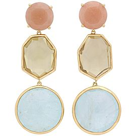 Ippolita 18K Yellow Gold Pastel Rose Quartz, Citrine and Aquamarine Dangle Earrings