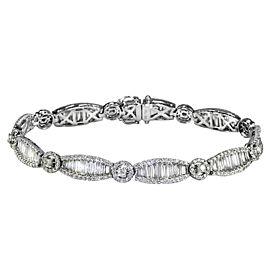18K White Gold Art Deco Style Diamond Tennis Bracelet