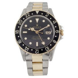 Rolex GMT-Master 16753 Two Tone 18K Yellow Gold and Stainless Steel 39mm Mens Watch
