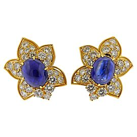 Sapphire Cabochon Diamond Gold Earrings