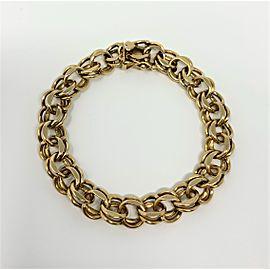 14K Yellow Gold Vintage Double Link Charm Bracelet