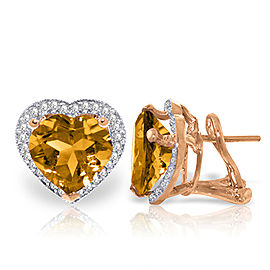 6.48 CTW 14K Solid Rose Gold Heart Citrine Diamond Earrings