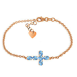 1.7 CTW 14K Solid Rose Gold Cross Bracelet Natural Blue Topaz