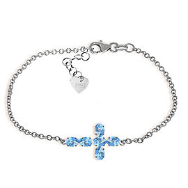 1.7 CTW 14K Solid White Gold Cross Bracelet Natural Blue Topaz