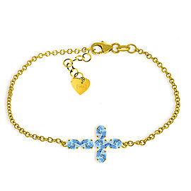 1.7 CTW 14K Solid Gold Cross Bracelet Natural Blue Topaz