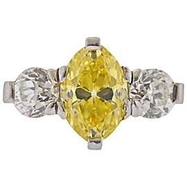 Cartier GIA 3.15 Carat Fancy Vivid Yellow VVS2 Marquise Diamond Engagement Ring
