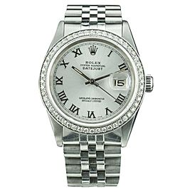 Rolex Datejust 16014 Stainless Steel / 18K White Gold with Silver Roman Dial Vintage 36mm Mens Watch