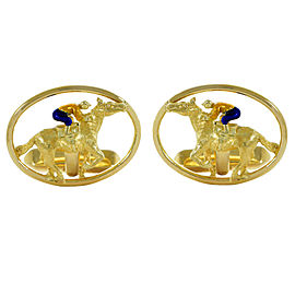 Cartier Horse and Jockey Cufflinks 18K Yellow Gold and Enamel