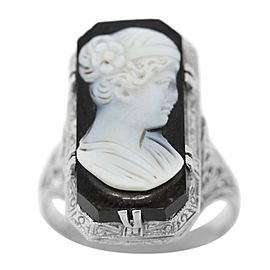 18k White Gold Onyx Antique Art Deco Ring