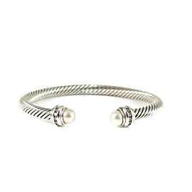David Yurman Sterling Silver Cultured Pearl Diamond Princess Bracelet