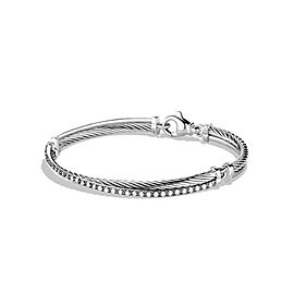 David Yurman Sterling Silver 0.43ct Diamonds Crossover Bracelet