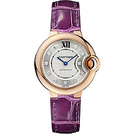 Cartier Ballon Bleu WE902063 18K Pink Gold & Leather with Silver Dial 33mm Womens Watch