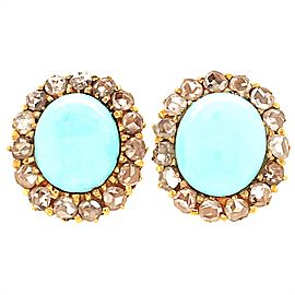 Pretty 18k Yellow Gold Turquoise and Rough Cut Diamond Earrings