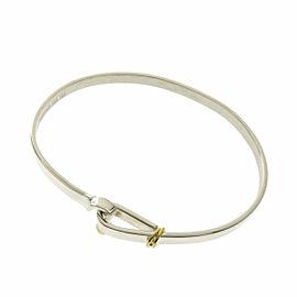 TIFFANY & Co. Silver 18K Yellow Gold Hook & Eye Bangle Bracelet