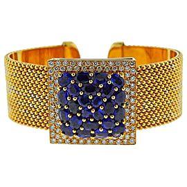 Gold Diamond Sapphire Cuff Bracelet