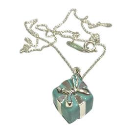 Tiffany & Co. Sterling Silver & Blue enamel Finish Box Charm Necklace