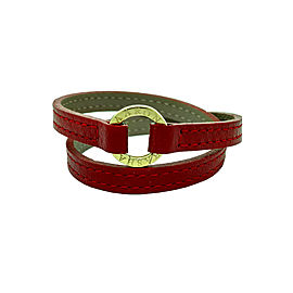 Aaron Basha Red 18K Yellow Gold and Red Leather Bracelet
