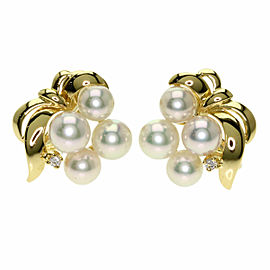 MIKIMOTO 18K Yellow Gold Diamond Akoya Pearl Pearl Earring
