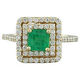 1.55 Carat Emerald 14K Yellow Gold Diamond Ring