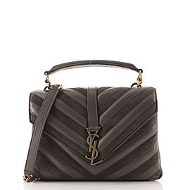 Saint Laurent Classic Monogram College Bag Matelasse Chevron Leather and Suede Medium