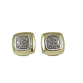 David Yurman 925 Sterling Silver and 18K Yellow Gold with 0.36ctw Diamond Cushion Stud Earrings