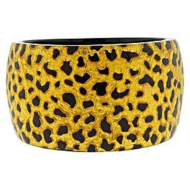 Gold Leaf Bakelite Wide Bangle Bracelet