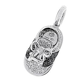 Aaron Basha Saddle Shoe 18k White Gold Black and White Diamond Charm