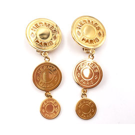 Hermes Gold Plated Button Dangle Clip on Earrings