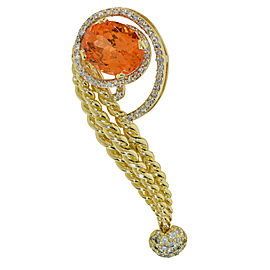 David Webb 18K Yellow Gold Garnet & Diamond Pin Brooch