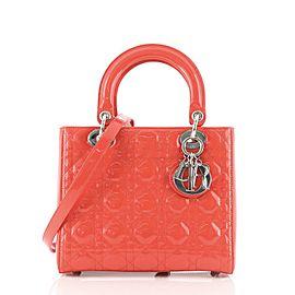 Christian Dior Lady Dior Bag Cannage Quilt Patent Medium