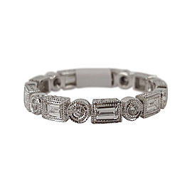 18K White Gold & Diamond Zodiac Eternity Band Ring Size 6.5