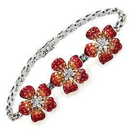 18K White Gold Sapphire Diamond Flower Bracelet