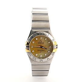 Omega Constellation Quartz Watch Stainless Steel and Yellow Gold with Diamond Markers 24