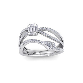 GLAM ® Multi-band ring in 14K gold with white diamonds of 0.83 in weight