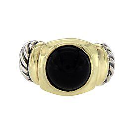 David Yurman 925 Sterling Silver & 14K Yellow Gold Onyx Ring Size 5.5