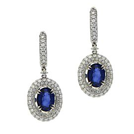 Fancy Sapphire Earrings with 3D Pave Halo
