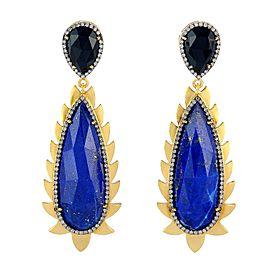 18K Gold & Sterling Silver Lapis, Black Onyx & Diamonds Flame Earrings