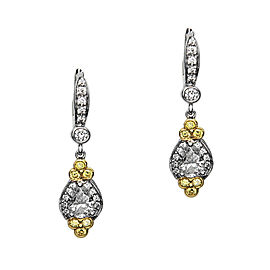 Charles Krypell 18K White & Yellow Gold Diamond Earrings