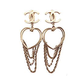 Chanel Gold Tone CC Heart Chain Clip on Earrings