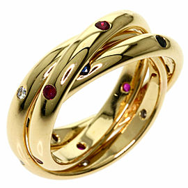CARTIER 18K Yellow Gold Trinity Ruby Sapphire Diamond Ring