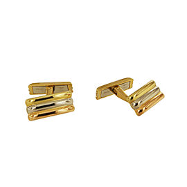 Cartier Three Tone Gold Bar Cufflinks