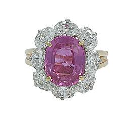 Oscar Heyman 4.80 Ct Pink Sapphire And Diamond Ring Size 4.75