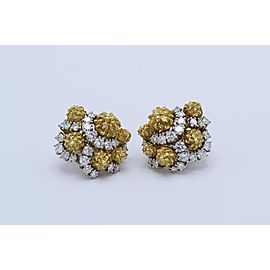 18 Karat Bicolor Gold, Platinum and Diamond Earclips