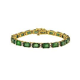 14K Yellow Gold Emerald & Diamond Bracelet