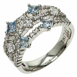 CELINE Platinum Diamond Aquamarine Ring