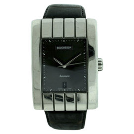Bucheron Stainless Steel & Leather Black Dial Automatic w/Date 32mm Mens Watch