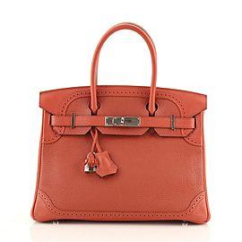 Hermes Birkin Ghillies Handbag Brique Clemence and Evercolor with Palladium Hardware 30