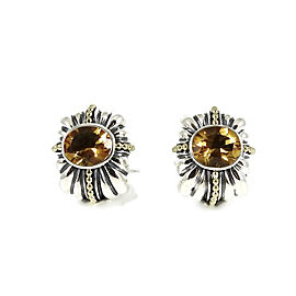 Lagos Sterling Silver 18K Yellow Gold Large Citrine Wheat Earrings